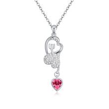 T112986 AAA grade crystal necklace– Cupid Arrow ( Rose )