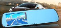 1200 Mega Pixels HD 4.3''Dual Lens Video Recorder Dash Cam Rearview Mirror Car Vehicle Camera DVR + Blue glass + GPS + G-sensor