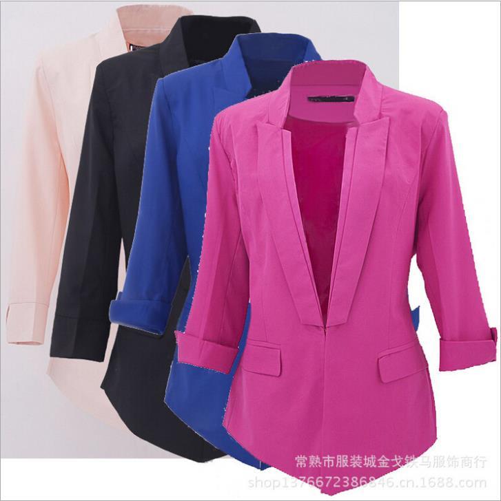 Женский пиджак Brand New 2015 Feminin Blaser Slim Fit CollarWomen & Women Blazer