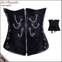 Black Leather Undercorset Bodysuits Plus Size Corsets And Bustiers Waist Cincher Corset Lingerie Women Shapers& Corsets