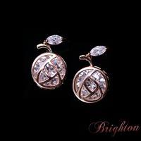New Fashion Design AAA Zircon Earrings Plant Shaped Rose Gold Plated Stud Earrings For Women Jewelry
