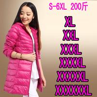 2015 women Plus size clothing plus size winter fat  mm medium-long thin down coat outerwear9S-6XL)