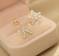 Sweet full Crystal Starfish Earrings Ear Studs Crystal Ladies fashion Stud earrings Free shipping
