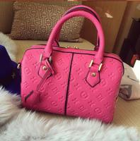 2015 fashion boston new style knurling handbag hot selling pu letter women's handbag freeshipping