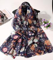 pomegranate flower Silk paj scarf, flower printed silk shawls, silk long scarf free shipping