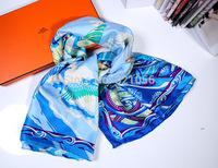 Printing Square Silk Scarf , Women Ladaies Luxury Temperament Scarves Shawl f Spring Winter