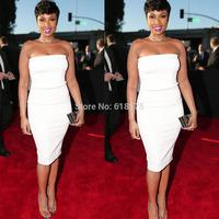 Jennifer Hudson Formal Prom Gown White Sheath Knee Length Strapless Off the Shoulder 57th Grammy Celebrity Dresses 2015