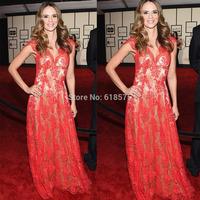 2015 57th Grammy Karen Martinez Red Lace Celebrity Dresses V Neck Cap Sleeves A Line Long Red Carpet Evening Gowns Vestidos