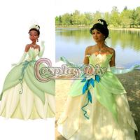 Free Shipping Customized Princess Tiana Dress from The Princess and the Frog Princess Tiana Costume