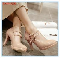 ENMAYER round toe 2015 platform pumps thin heels sexy patent leather women pumps two colors size 34-39 wedding shoes for ladies
