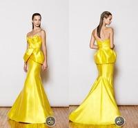 Bright Yellow Evening Dress Sweetheart Sleeveless Mermaid Floor Length Pleats Backless Taffeta Evening Dresses Vestido