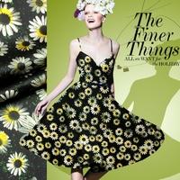2015 Chrysanthemum Digital Print Stretch Silk(93%) Satin Fabric 19Mommie  118CM*100CM