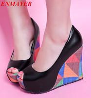 ENMAYER  Peep Toe Women wedges High heels shoes New arrival Sexy Summer  Fashion Casual Women Platform Pumps Black Orange Beige