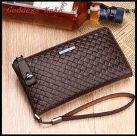New Knitting design Fashion Men Day Clutch Genuine Leather carteira masculina Casual purses monederos  free ship BG005