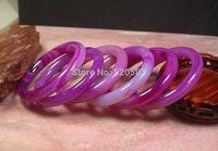 CHINESE Pink Lavender AGATE JADE Round Circle Bangle Bracelet 58 mm