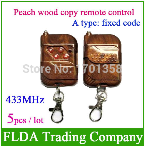 Freeshipping 250MHZ-450MHZ wireless remote key A type fixed code Frequency 433MHz Peach wood copy remote control(China (Mainland))