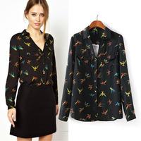 2015 spring new arrival fashion women's multicolour swallow print black shirt  long-sleeve chiffon shirt blouse YHS09 S,M,L
