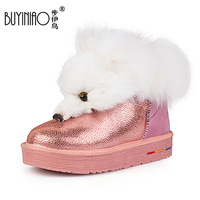 Winter genuine leather real Artificial fox fur high heel snow boots warm snow boots shoes cotton  Ankle  Fashion Tassel BOOTS