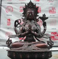"[wholesale_jewelry_wig ] 8""Tibet Buddhism fane Red Bronze four arm Kwan-Yin Bodhisattva Buddha Statue"