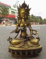 """[wholesale_jewelry_wig ] 8"""" Tibet Fane Bronze Amitayus Bodhisattva Guan Yin Kwan-Yin Buddha Statue"""