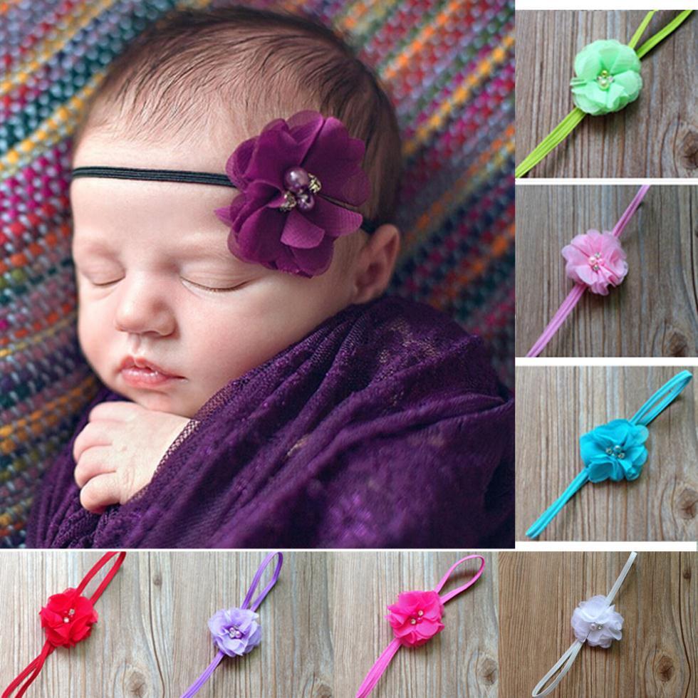 2015 Girl's Head Accessories hairband Baby Headband flower princess pearl rhinestone headband elastic flower hairband(China (Mainland))