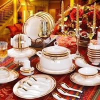 Ceramics tableware bone china dinnerware set western-style tall crockery dishes set