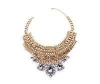 Fashion Jewelry Luxury Gold Tone Multi-Row Chain Drop Shaped Short Necklace Statement Chokers