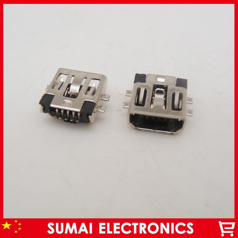 20pcs/lot wholesale free shipping MINI USB 5PIN / F SMT AB TYPE sink board short body F-type environmental 8.8mm SMD(China (Mainland))