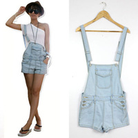 Summer Women Casual Washed Jeans Denim Hole Jumpsuit Romper Overall Shorts Pants