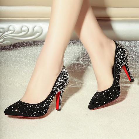size 33-40 women pumps genuine leather pointed toe high heels rhinestone red bottom shoes fashion popular black wedding shoes(China (Mainland))