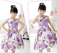 New Fashion 2015 Pretty Girl Kids Summer Princess Dress Flower Print Bow Gown Sleeveless Floral Wedding Party Dresses b4