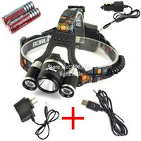 LED Headlight 3*L2 5000LM CREE XM-L L2 LED Headlamp Head Bike Lamp  + 2* 18650 Battery + Charger + Car Charger+USB cable