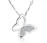 High Quality! Noble Gold Plated Classical Silver Butterfly Pendant For Women Free Shipping