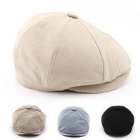 2015 New Solid Color Vintage Beckham Men Women Fashion Octagonal Cap Men Cotton Newsboy Cap Painter Beret Hat Free Shipping