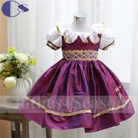 Purple Latest Handmade Applique Princess Flower Girl Dress 2015 Summer Dress Vestido De Festa Girls Party Dresses For Children