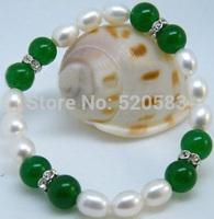 """lovely 9-10mm pearl&10mm jade jewelry bracelet 7.5"""""""