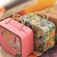Free ship!1lot=10pc!Retro suitcase creative storage tin bag / candy boxes / coin Iron gift box