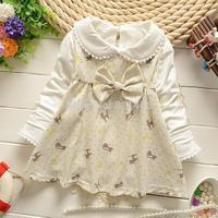 2015 spring girls bowtie cat print false 2 pcs dress coat / cute baby shirts / long sleeve children T-shirt