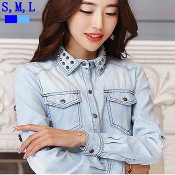 Blusas femininas новый джинсовой ткани женщин блузка двойной карманы заклепки отложным воротником старинные джинсы рубашка с длинным рукавом свободного покроя топы s, м, L T52013