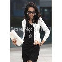 Sweet Style Scoop Neck Long Sleeves Solid Color Rivet Embellished Coat For Women Jacket 2015