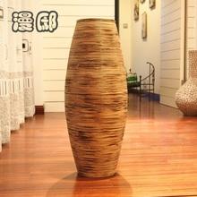 2014 free shipping 61cm Fashion vintage charcoal floor bamboo vase tub olivary handmade dried flowers flower(China (Mainland))