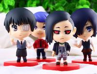 10cm Q version Tokyo Ghoul Kaneki Ken Gourmet Shuu Tsukiyama Statue Action Figure PVC Collectible Toy 4pcs/lot Free Shipping
