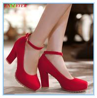 ENMAYER hoof heels 2015 platform pumps round toe flock for spring-autumn women pumps three colors size 34-39 shoes for ladies