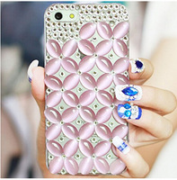 Luxury Crystal Rhinestone Diamond Bling grids back Cover DIY handmade colorful cross flower phone case for iphone 6 plus PT2223