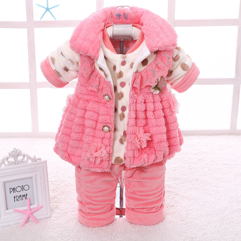 Fashion newborn baby girl kids clothes girls sets casual cotton long infant winter clothing china lace flower floral pink(China (Mainland))