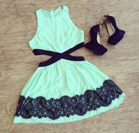 2015 New Casual Sexy Neck Dress Party Evening Women Clothing Black Mint Green Mini Contrast Lace Geometric Dress Summer Vestidos
