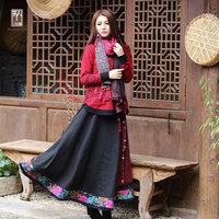 Autumn and winter national trend woolen women's autumn embroidery a-line skirt high waist sheds medium-long skirt bust skirt
