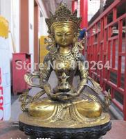 "[wholesale_jewelry_wig ]   Details about  11""Inch Tibet Buddhist fane bronze Amitayus Buddha longevity Guan-Yin Statue"