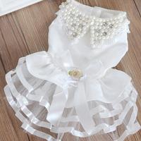 Pet clothes evening dress princess dress pet clothing Pet Wedding Dress with Pearl