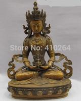 [wholesale_jewelry_wig  Tibet Buddhism Religion Copper Bronze Amitayus Kwan-Yin Bodhisattva Statue